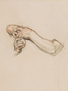 DEAN CORNWELL (American, 1892-1960). Sketch of ClaspedHands. Pastel and charcoal on paper .