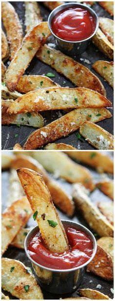Baked Garlic Parmesan Potato Wedges Recipe on http://twopeasandtheirpod.com These are the BEST French fries and they are SO easy to make at home!