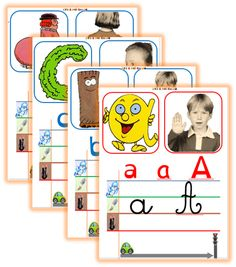 Abc Cards, Kids Cards, Learning To Write, Kids Learning, Alphabet Alpha, Abc Centers, French Education, Teaching French, Mothers Day Cards