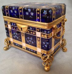 Gorgeous!!!!! ♥rts Moser Cobalt Blue Glass Casket Enameled and Gilt ~ (WOW!! $3,995.00)