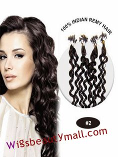 High quality 34 inches 100 strand wavy micro loop ring indian remy latest 34 inches 100 strand curly micro loop ring indian remy human hair extensions dark brown pmusecretfo Choice Image