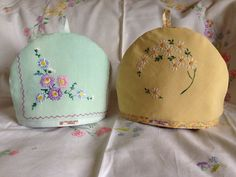 Two vintage-style tea cosies made from table Linen.these are so pretty! Embroidery Motifs, Embroidery Transfers, Vintage Embroidery, Embroidery Designs, Tea Cozy, Coffee Cozy, Antique Lace, Vintage Linen, Upcycled Vintage