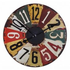 Vintage License Plates Design Wall Clock - Multi Color