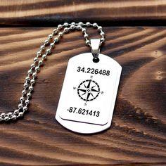 Personalized Coordinates Necklace, GPS Necklace, Latitude Longitude, Customized Necklace, Stainless Steel Necklace, Boyfriend Gift, Men Gift