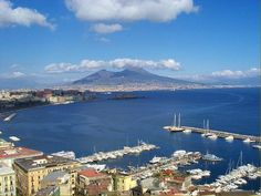 Napoli (Naples), Italy. Where I first enjoyed fried calamari and octopus. Vesuvius in the background.