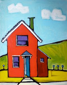 abstract landscape, abstract painting, whimsical, red house, architectural painting, original painting, landscape painting