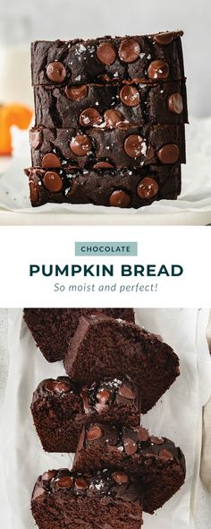 This easy chocolate pumpkin chocolate chip bread is the perfect breakfast or sweet snack.