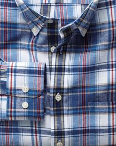 Classic fit blue and red check cotton linen shirt