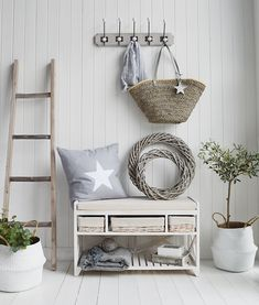 The White Lighthouse Hallway furniture New England, Coastal Country and Scandinavian. Cape Cod white wash shoe storage bench with cushion, baskets and shoe storage. Hallway Shoe Storage Bench, Storage Bench With Baskets, White Storage Bench, Storage Bench With Cushion, Staircase Storage, Stair Storage, White Hallway Furniture, Hall Furniture, Furniture Storage