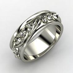 14K White Gold Ring   Cornice Band   Gemvara