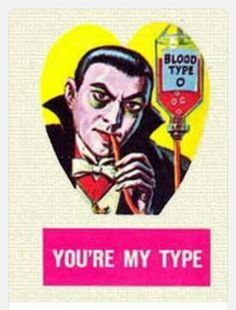 """""""Bah, I vant. to suck your blood, my love"""" 23 Bewitching Halloween-Themed Vintage Valentine's Day Cards My Funny Valentine, Vintage Valentine Cards, Valentine Day Cards, Vintage Cards, Happy Valentines Day, Vintage Postcards, Retro Halloween, Halloween Themes, Halloween Labels"""