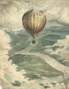 An poster sized print, approx (other products available) - View of Charles Green& Nassau balloon with several passengers, flying over the River Medway in November 1836 - Image supplied by Mary Evans Prints Online - Poster printed in the USA Fine Art Prints, Framed Prints, Canvas Prints, Charles Green, Cuadros Diy, Balloon Illustration, Aerial Arts, Over The River, Tumblr