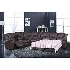 Leather Reclining Sectional Sleeper Sofa Recliner Chairs Brown