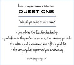 common interview question: why do you want to work here