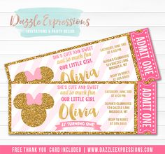Printable Pink and Gold Minnie Mouse Inspired Ticket Birthday Invitation | Mickey Clubhouse | Gold Glitter | Girls 1st Birthday Invitation | Thank You Card | Oh Toodles | Party Package Decorations Available! | Favor Tags | Food Labels | Party Signs | Cupcake Toppers | Banner | Photo Props | Water Bottle Labels and more! www.dazzleexpressions.com