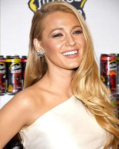 Blake Lively wears a simple blow dry for great wedding day hairstyle inspiration