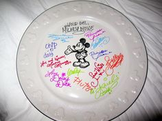 DISNEY CRUISE: a Plate to leave at guest services to have characters sign....I know someone who can make a plate for me ;)