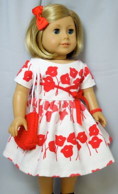 American Girl Doll Clothes, Red and White Flowered 1950's Party Dress on Etsy, $22.00