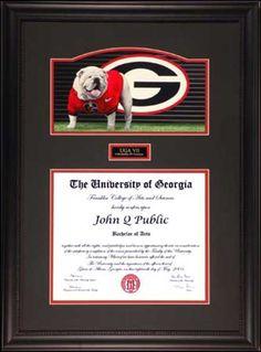 UGA Diploma Frame with Mascot