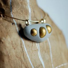 Find it at the Foundary - Concrete and Gold Clay Necklace