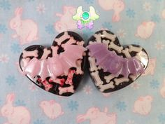 Pastel Goth Bats and Bones Pins  Black by SammysJewels on Etsy