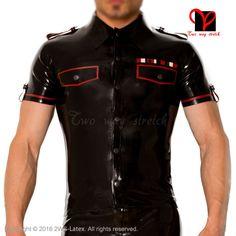 Latex military uniform T Tee shirt button high collar pocket flap Rubber Top Gummi blouse catsuit Army Dress XXXL plus size