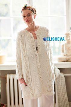 Шикарное вязаное пальто для женщин от DIY с косами и жгутами спицами | Блог elisheva.ru