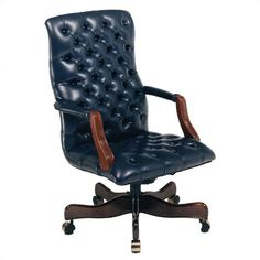 Attractive Blue Leather Office Chair