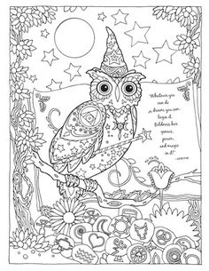 Creative Haven Owls Colouring Book by Marjorie Sarnat ~ Wizard Owl