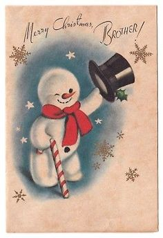 UNUSED Vintage Greeting Card Christmas Snowman Brother Parchment Rust Craft
