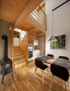 archiweb.cz - Chata pod třešní House In The Woods, Conference Room, Loft, Architecture, Outdoor Decor, Table, Furniture, Home Decor, Arquitetura
