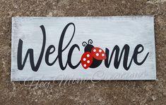 Welcome sign- Ladybug sign- Ladybug wreath sign- Summer sign- Summer sign for wreath- Wreath embellishment Porch Welcome Sign, Wooden Welcome Signs, Diy Wood Signs, Painted Wood Signs, Vinyl Signs, Painted Rocks, Hand Painted, Lady Bug, Wood Wreath