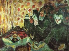 """""""Cerca de la cama de la muerte (fiebre) (1915)"""", 1915 de Edvard Munch (1863-1944, Norway)"""