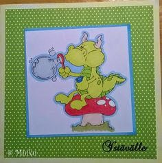 Valentine's day card. High hopes stamp. / Ystävänpäiväkortti. Lohikäärme. Kärpässieni. Saippuakuplia. Winnie The Pooh, Peanuts Comics, Disney Characters, Fictional Characters, Valentines Day, Stamp, Cards, Handmade, Valentine's Day Diy