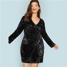 Plus Size Black V Neck Sequin Girls Sexy Dress Women Long Sleeve Party Dress Elegant Evening Mini Dresses Sequin Mini Dress, Mesh Dress, Dresses For Sale, Dresses Online, Mini Dresses, Women's Dresses, Velvet Dresses, Dress Outfits, Boutique Fashion