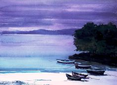 Rafael Alonso beach by TeresalaLoba - ( SO many watercolors on Flickr - I'm only sharing a tiny fraction ! )
