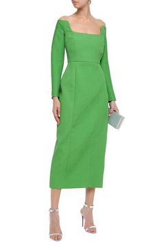 Emilia Wickstead Woman Birch Off-the-shoulder Cloqué Midi Dress Bright Green Short Dresses, Dresses For Work, Green Midi Dress, Emilia Wickstead, Haute Couture Fashion, Bright Green, World Of Fashion, Sheath Dress, Beautiful Dresses