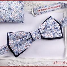 Set noeud papillon double et pochette costume assortie tissu liberty eloise bleu - homme