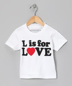 White 'L is for Love' Tee - Toddler & Kids # Valentines Day