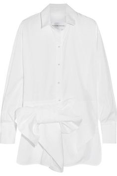 Victoria, Victoria Beckham - Bow-embellished Cotton Shirt - White - UK14