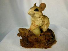 Vintage Castagna  Mouse On Oak Log Figurine by VintageQualityFinds