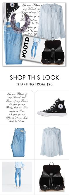 """OOTD :)"" by v-aldina ❤ liked on Polyvore featuring Converse, AG Adriano Goldschmied, Vince, Madewell, FRR and Lia Sophia"