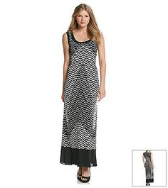 Notations® Zig Zag Print Chiffon Maxi Dress from Bon-Ton