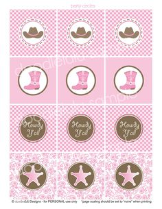 DIY Printable Cowgirl Party Circles / CUPCAKE toppers - 8 Designs from DOODLELULU by 2 june bugs. $7.50, via Etsy.