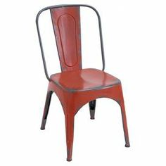 "Add a touch of industrial-chic style to your kitchen or breakfast nook with this metal side chair, featuring a weathered red finish and open base.   Product: ChairConstruction Material: MetalColor: RedDimensions: 35"" H x 19"" W x 16"" D"