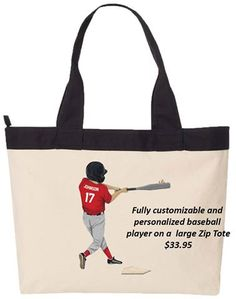 Customize our tote bag with an image of your child playing their favorite sport!