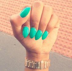#green #stiletto #nail #polish #nails #manicure #beauty #gold #watch