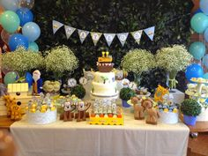 Studio Decor Eventos: BATIZADO COM 1º ANIVERSÁRIO - TEMA ARCA DE NOÉ Kids Birthday Themes, Birthday Decorations, Boy Birthday, Decor Eventos, Babyshower, Dedication Ideas, Card Tutorials, Baby Shower Cakes, Dessert Table