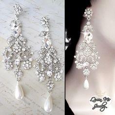"""Pearl earrings ~ Wedding earrings ~ Long, chandelier earrings - Statement earrings - 5"""" long - Brides earrings - Pageant - FABULOUS"""