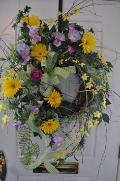 Spring Door Wreaths Summer Wreath Wild Birch Gerber Daisy Lime Yellow Lavender Ferns Herbs Dogwood Branches. $159.97, via Etsy.